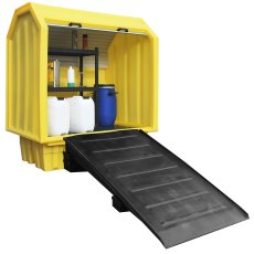Lockable Bunded Pallet with Shelving Unit
