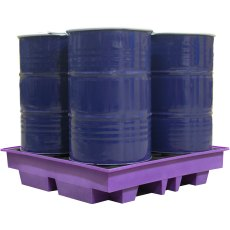 4 Drum Spill Pallet, Low Profile, Purple