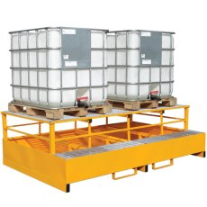 Twin IBC Metal Spill Pallet and Dispensing Frame for 2 IBCs