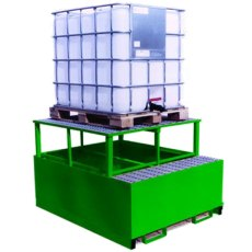 Single IBC Metal Spill Pallet and Dispensing Frame