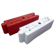 Pack (2) Oak Log Self Weighted Barriers, one red and one white barrier