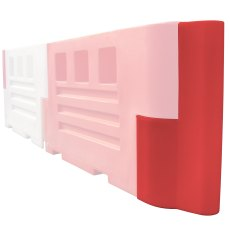 Pack (2) Heavy Duty Road Barrier End Stops - Red and White