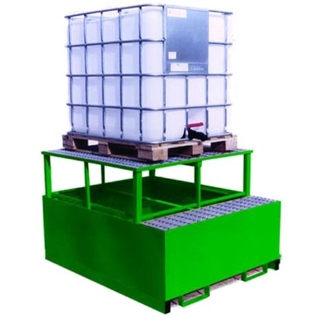 Safety Unlimited Single IBC Metal Spill Pallet and Dispensing Frame